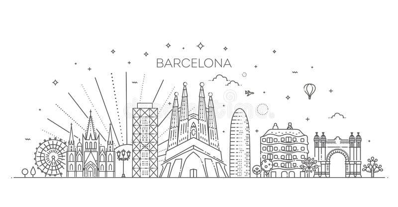Horizonte de Barcelona, España ilustración del vector