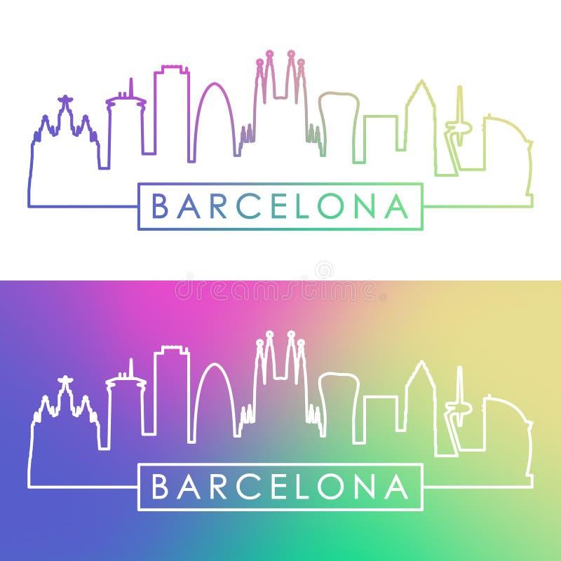 Horizonte de Barcelona Estilo linear colorido libre illustration