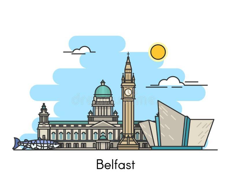 Horizonte de Belfast Irlanda, Reino Unido ilustración del vector