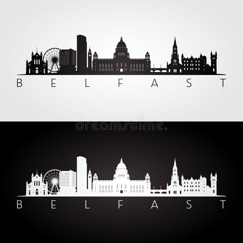 Horizonte de Belfast y silueta de las señales libre illustration