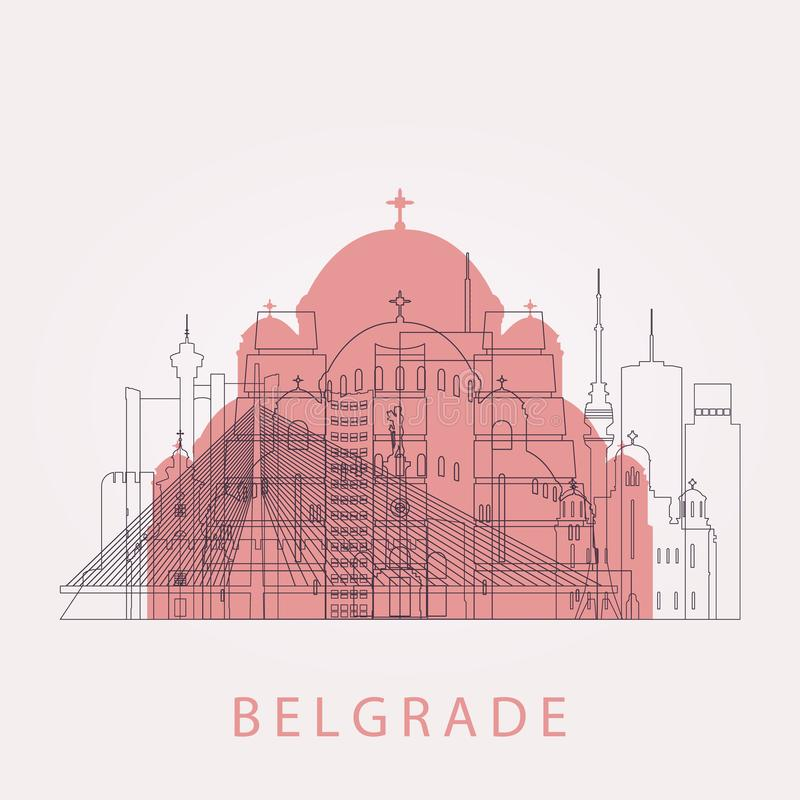 Horizonte de Belgrado del esquema con las señales ilustración del vector