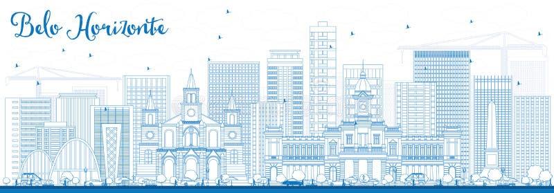 Horizonte de Belo Horizonte del esquema con los edificios azules libre illustration