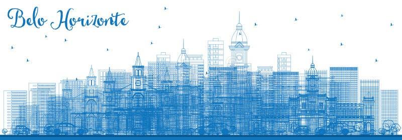 Horizonte de Belo Horizonte del esquema con los edificios azules stock de ilustración