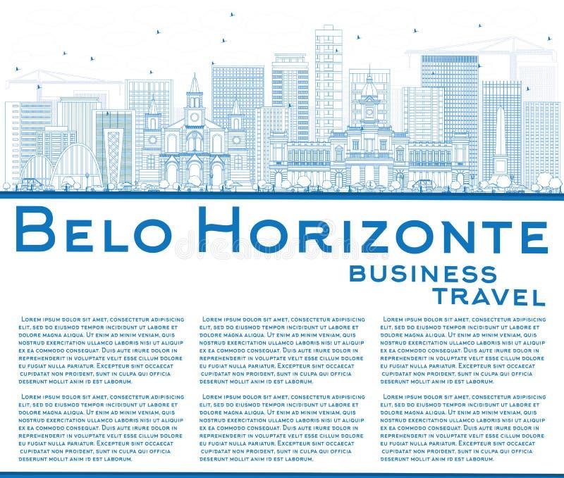 Horizonte de Belo Horizonte del esquema con los edificios y la copia azules Spac stock de ilustración