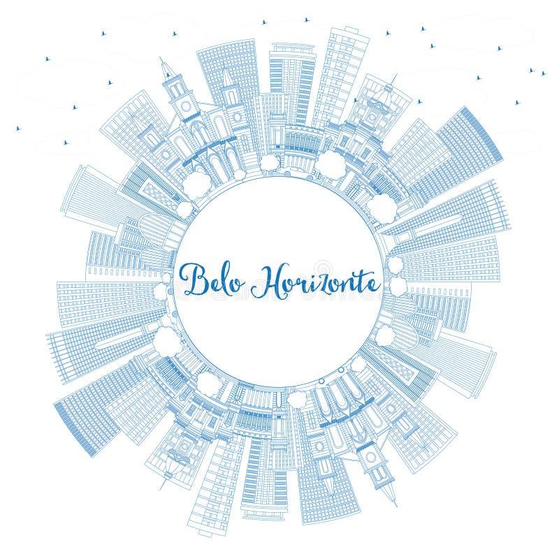 Horizonte de Belo Horizonte del esquema con los edificios y la copia azules Spac ilustración del vector