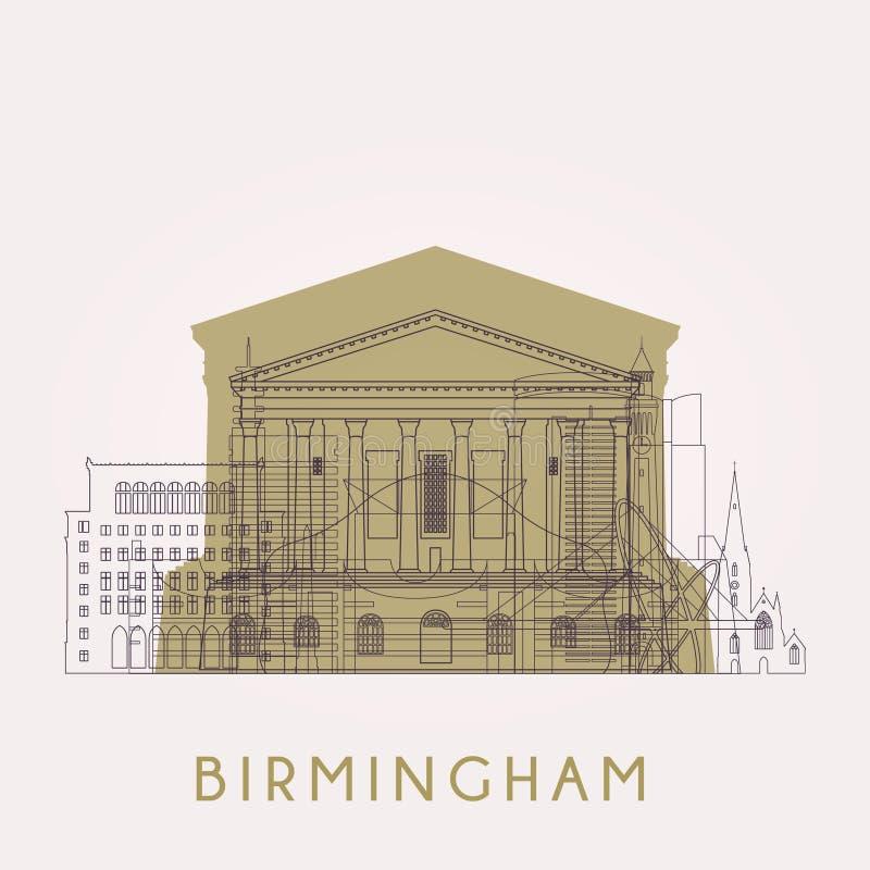 Horizonte de Birmingham del esquema con las señales stock de ilustración