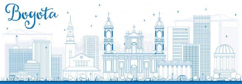 Horizonte de Bogotá del esquema con los edificios azules stock de ilustración