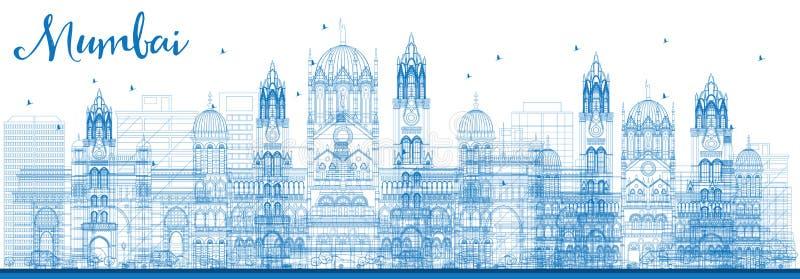 Horizonte de Bombay del esquema con las señales azules stock de ilustración