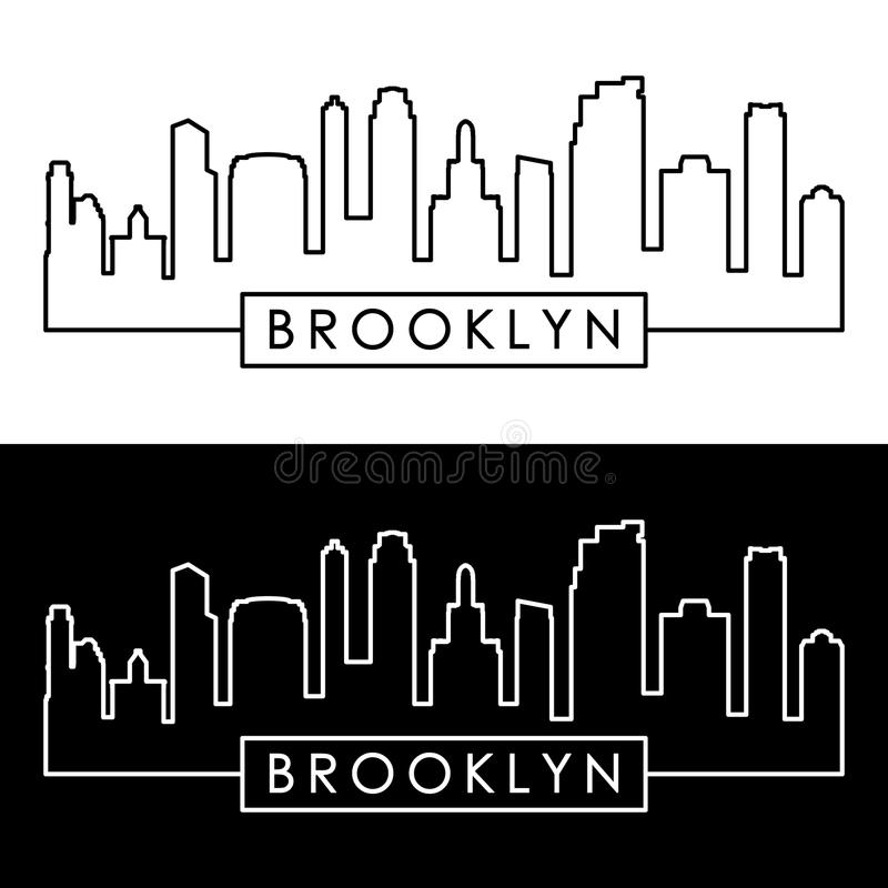 Horizonte de Brooklyn, New York City estilo linear ilustración del vector