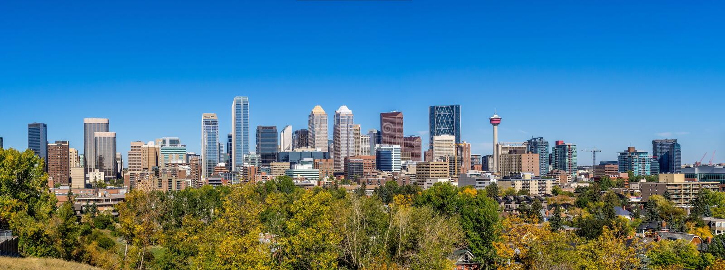 Horizonte de Calgary imágenes de archivo libres de regalías
