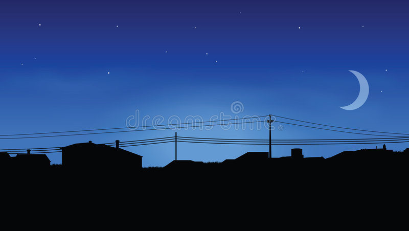 Horizonte de casas stock de ilustración