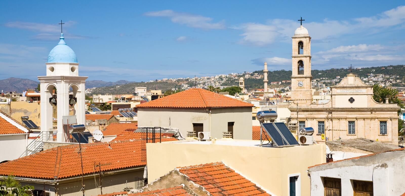 Horizonte de Chania, Creta imagenes de archivo