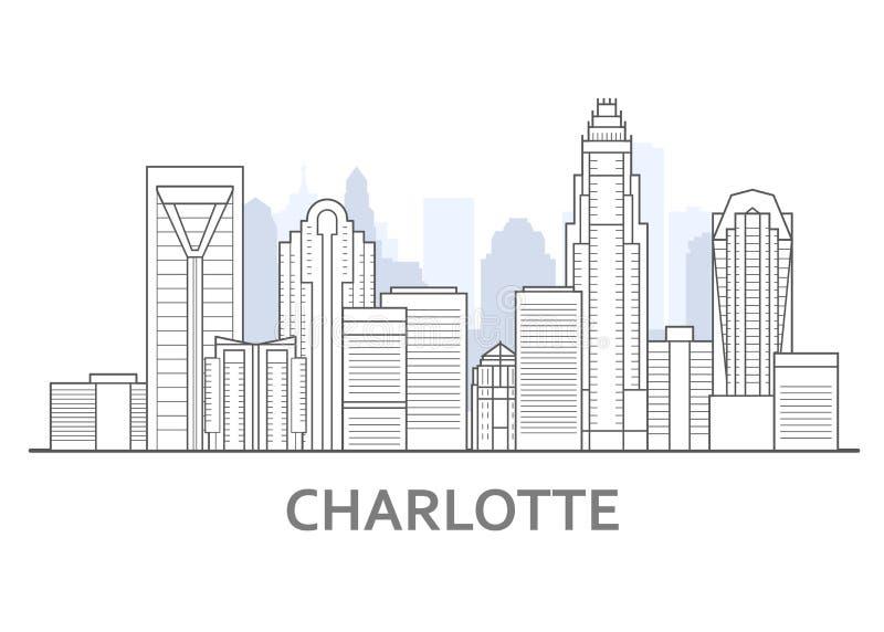 Horizonte de Charlotte, Carolina del Norte - panorama de Charlotte, en el centro de la ciudad ilustración del vector