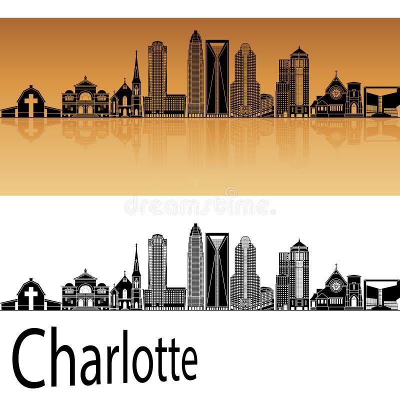 Horizonte de Charlotte en naranja stock de ilustración