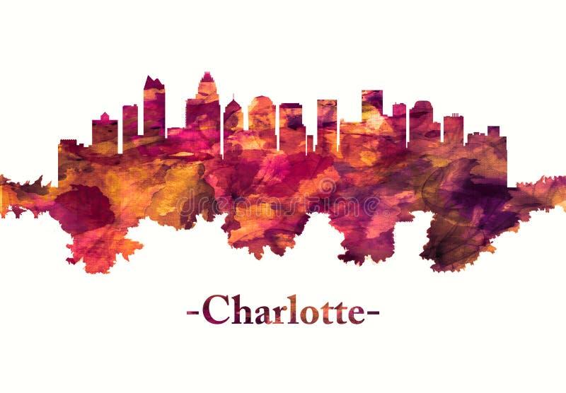 Horizonte de Charlotte North Carolina en rojo ilustración del vector
