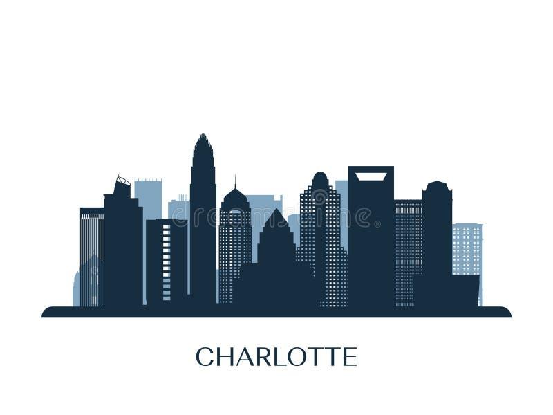 Horizonte de Charlotte, silueta monocromática libre illustration