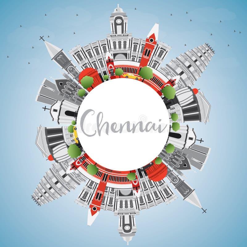Horizonte de Chennai con Gray Landmarks, el cielo azul y el espacio de la copia stock de ilustración