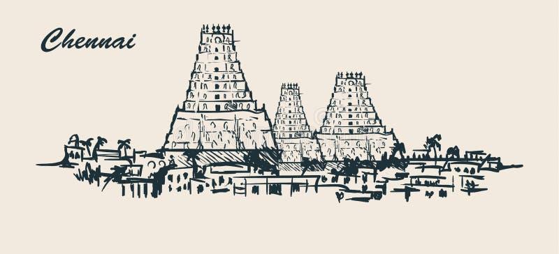Horizonte de Chennai, ejemplo a mano del vector del bosquejo en el fondo blanco stock de ilustración