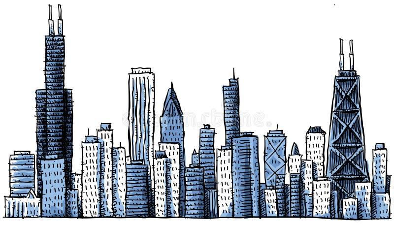 Horizonte de Chicago de la historieta ilustración del vector