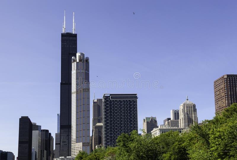 Horizonte de Chicago del río foto de archivo libre de regalías