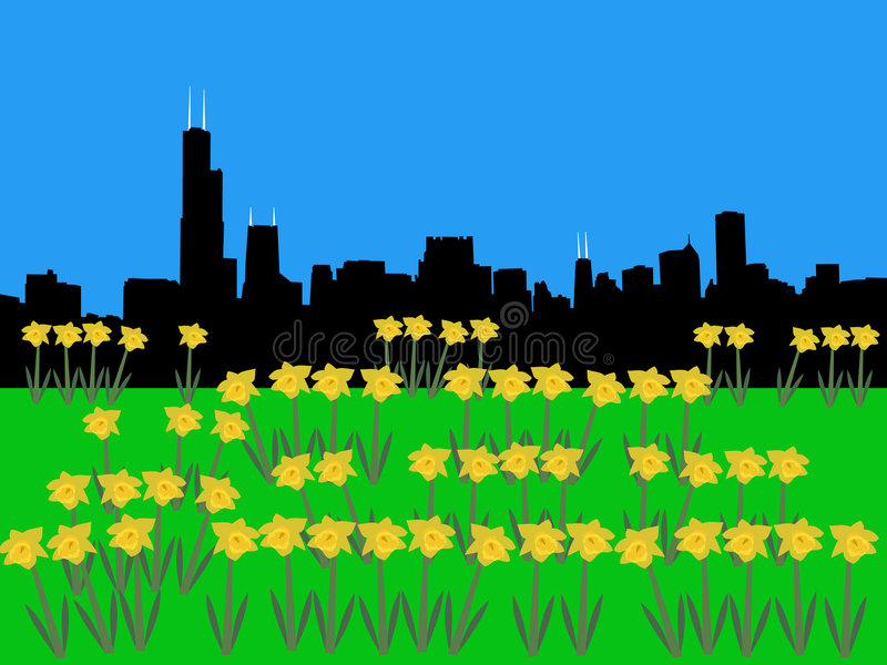 Horizonte de Chicago en primavera ilustración del vector