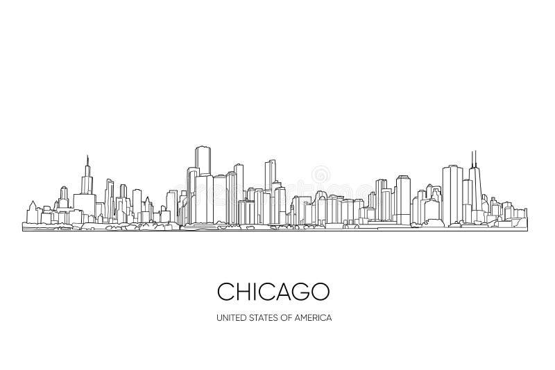Horizonte de Chicago Ilustraci?n del vector ilustración del vector