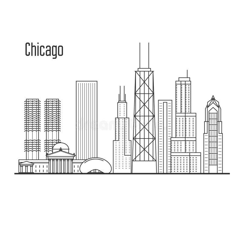 Horizonte de Chicago - paisaje urbano céntrico, señales de la ciudad ilustración del vector