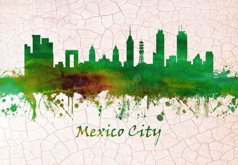 Horizonte de Ciudad de México México stock de ilustración