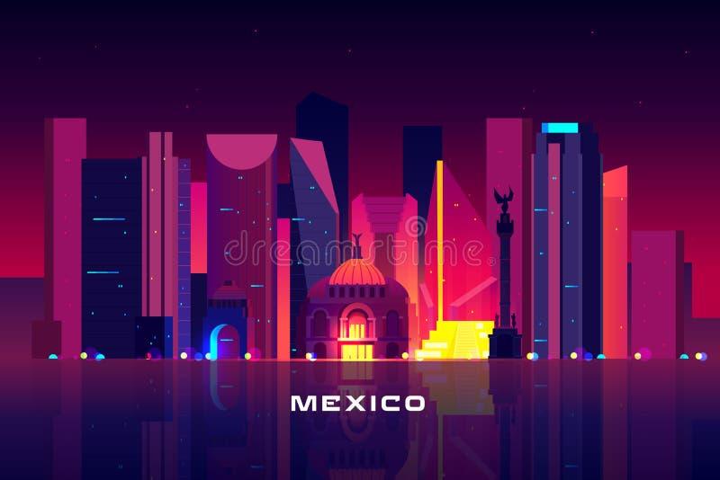 Horizonte de Ciudad de México, paisaje urbano de iluminación de neón de la noche ilustración del vector