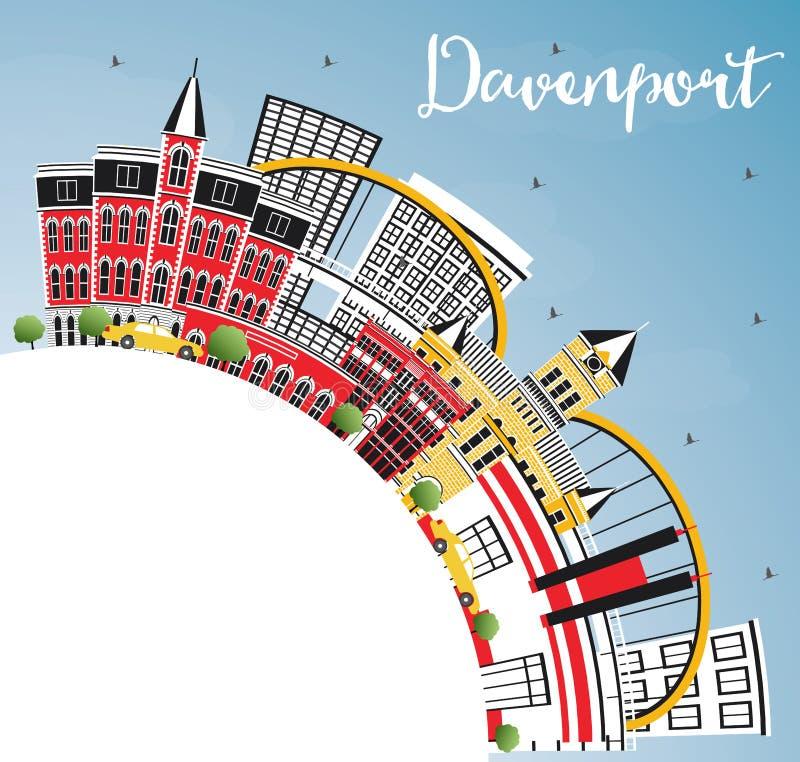 Horizonte de Davenport Iowa con los edificios del color, el cielo azul y la copia S ilustración del vector
