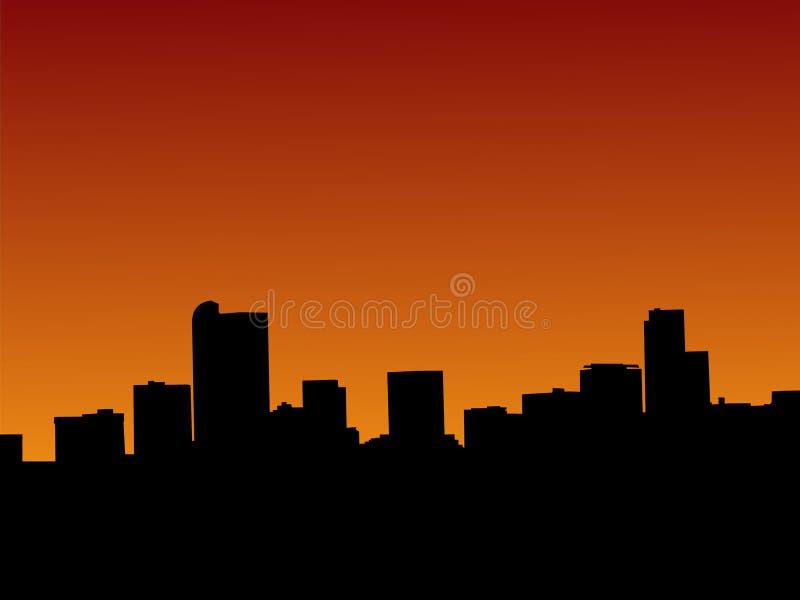 Horizonte de Denver en la puesta del sol libre illustration