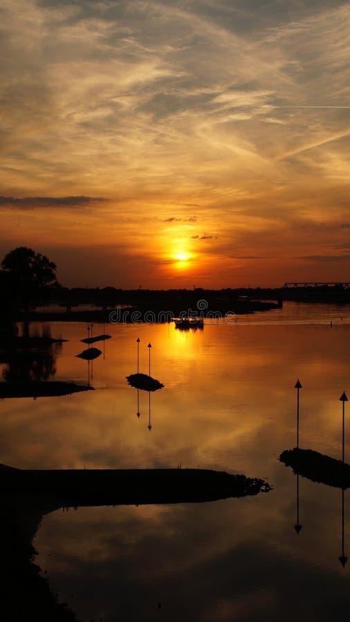 Horizonte de Deventer de la puesta del sol fotografía de archivo
