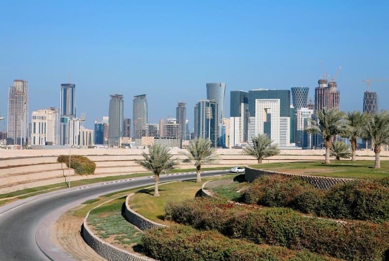 Horizonte de Doha fotografía de archivo