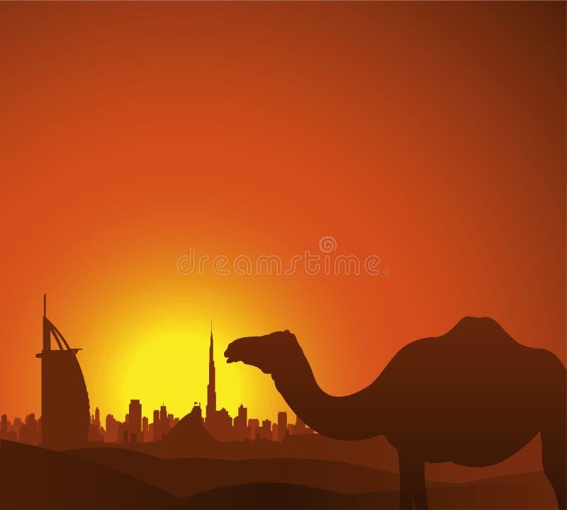 Horizonte de Dubai stock de ilustración