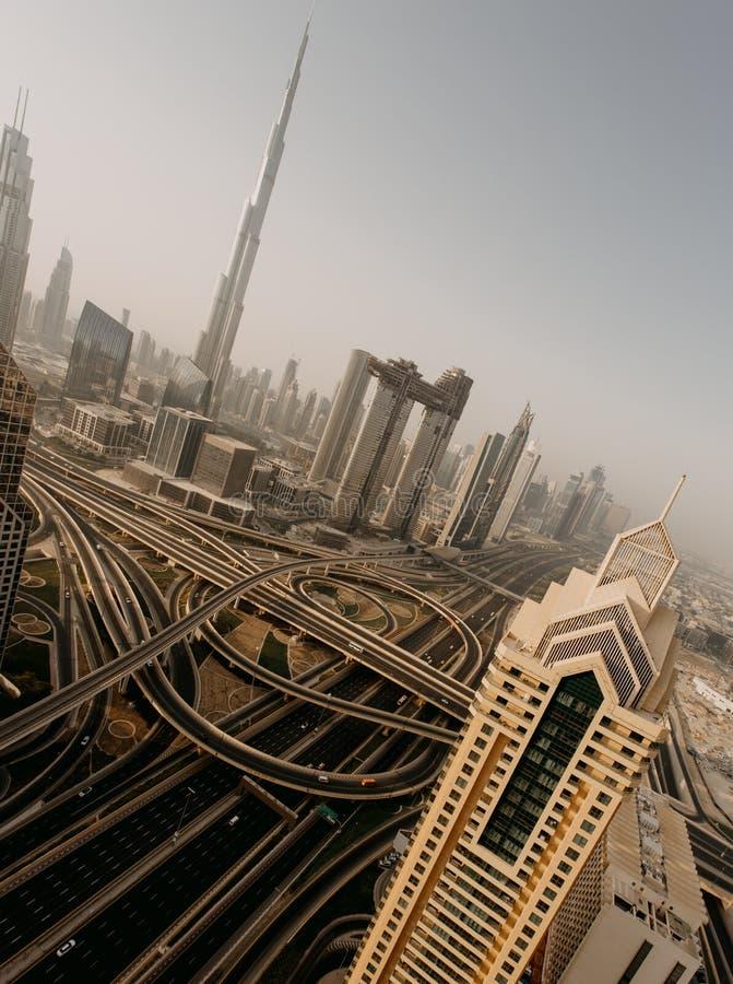 Horizonte de Dubai, centro de ciudad céntrico foto de archivo