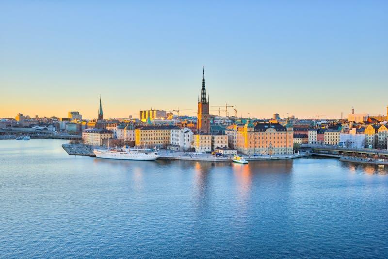 Horizonte de Estocolmo, el Gamla Stan en la ciudad de Estocolmo, Suecia imagen de archivo