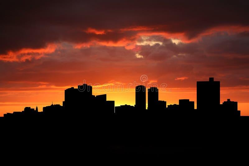 Horizonte de Fort Worth en la puesta del sol libre illustration