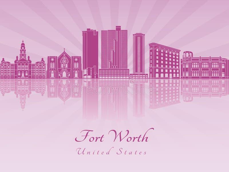 Horizonte de Fort Worth en orquídea radiante púrpura stock de ilustración