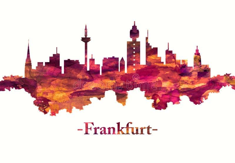 Horizonte de Francfort Alemania en rojo stock de ilustración