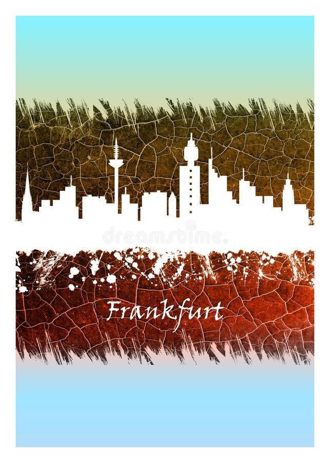 Horizonte de Francfort azul y blanco stock de ilustración