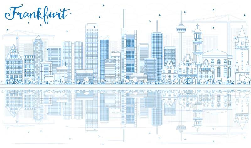 Horizonte de Francfort del esquema con los edificios azules y las reflexiones ilustración del vector