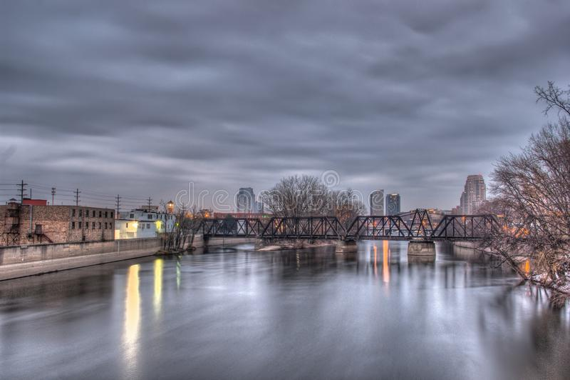 Horizonte de Grand Rapids Michigan foto de archivo