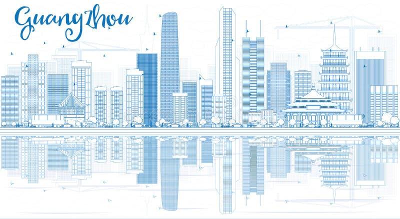 Horizonte de Guangzhou del esquema con los edificios azules y las reflexiones ilustración del vector