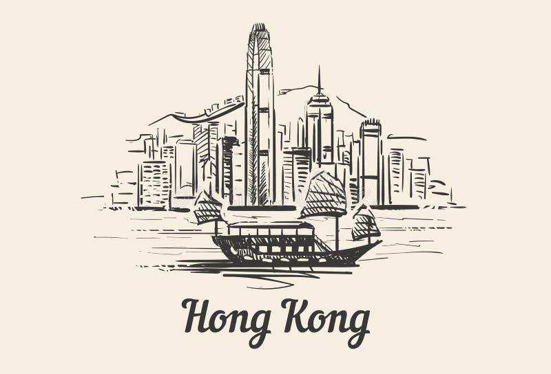 Horizonte de Hong Kong con bosquejo exhausto de la mano del barco ilustración del vector