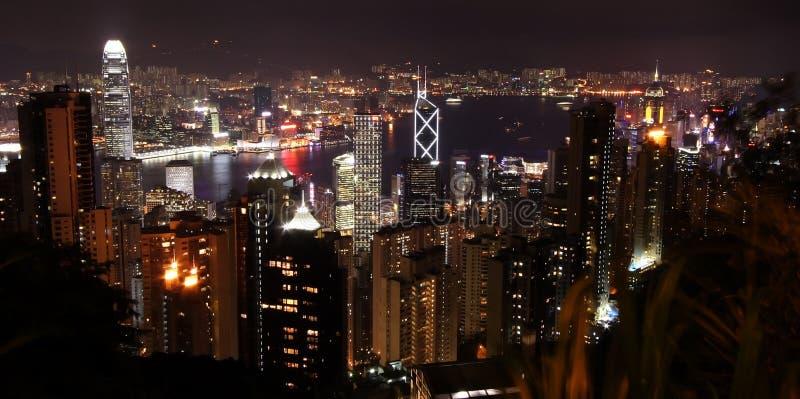 Horizonte de Hong-Kong de Night fotografía de archivo libre de regalías