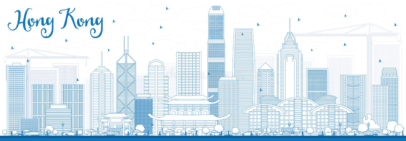 Horizonte de Hong Kong del esquema con los edificios azules libre illustration