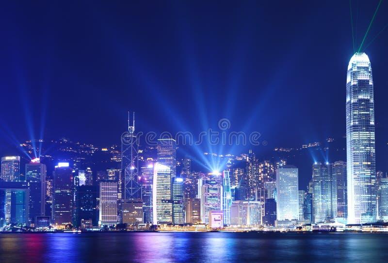 Horizonte de Hong Kong en la noche fotos de archivo libres de regalías