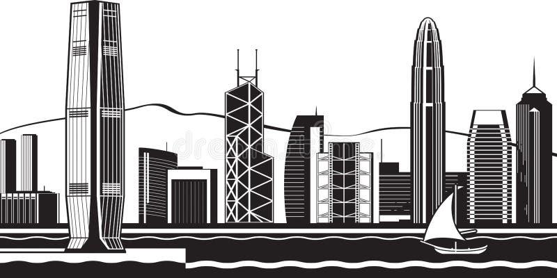 Horizonte de Hong Kong por día stock de ilustración