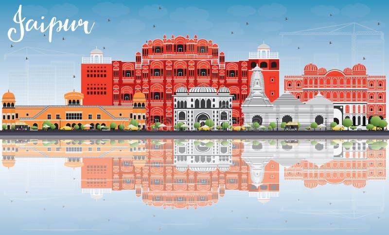 Horizonte de Jaipur con las señales del color, el cielo azul y reflexiones ilustración del vector