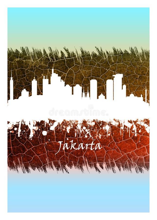 Horizonte de Jakarta azul y blanco libre illustration